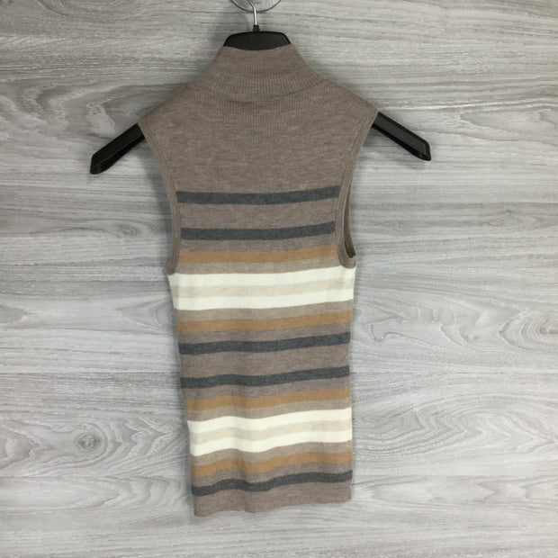 Theory Multicolor Stripe Mock Neck Sleeveless Top