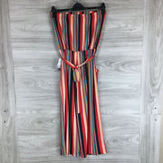 Velvet Torch Red Mustard Striped Jumpsuit