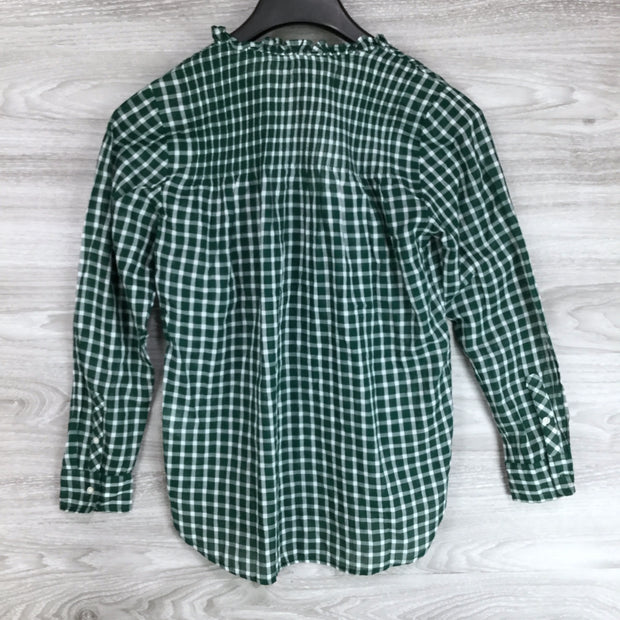 J. Crew Gingham Pleated Bib Ruffle Trim Shirt