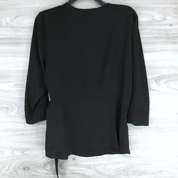 Topshop Wrap Front Buckle Belted Top