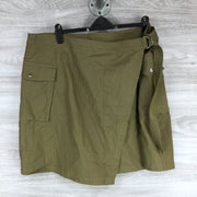 City Chic Wrap Front Belted Utility Skirt