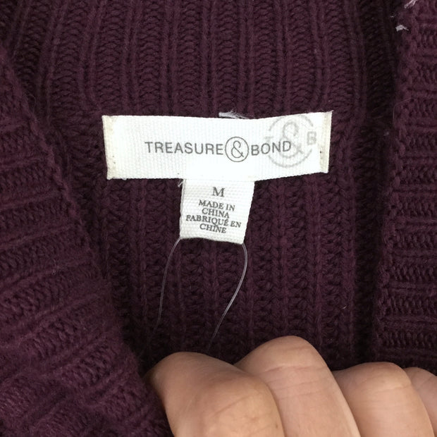Treasure & Bond Purple Ribbed Funnel Neck Sweater