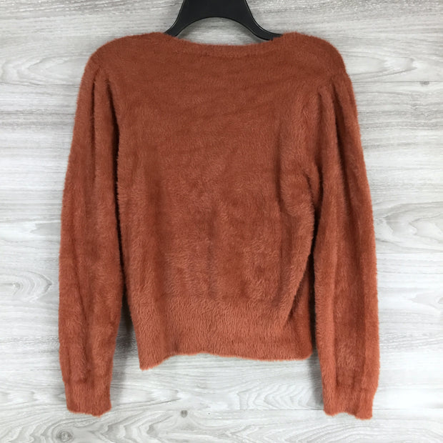 Astar Rose Rust Fuzzy Croptop Sweater