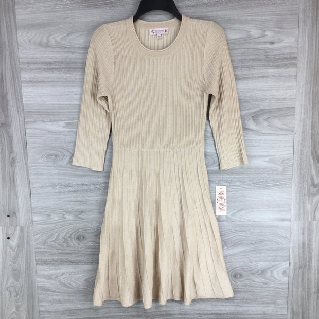 Nannete Lepore Champagne Pleated Fit & Flare Sweater Dress