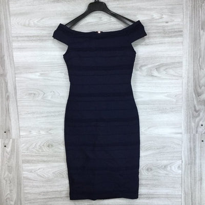 Ted Baker Navy Inan Bardot Stripe Body-Con Dress