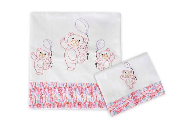 Teddy Baby Sheet Set (Pink)
