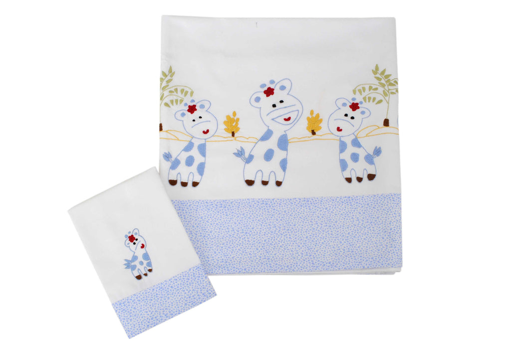 Giraffe Baby Sheet Set (Blue)