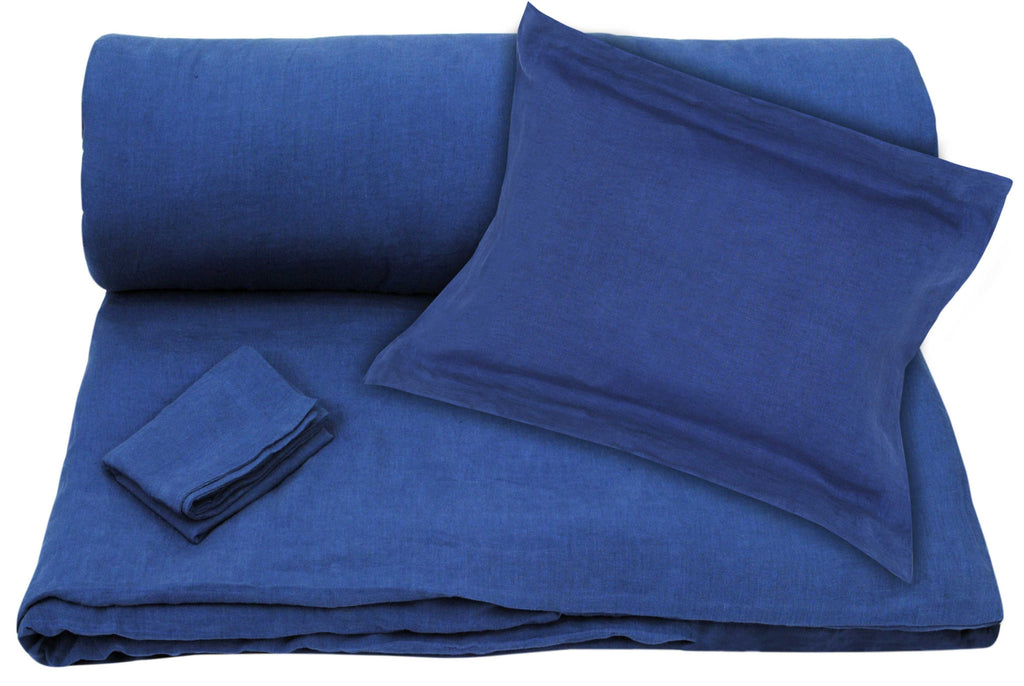 Blue Linen Duvet + Pillowcases