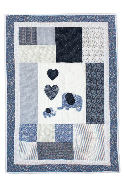 Patchwork Elephant Quilt (Blue)