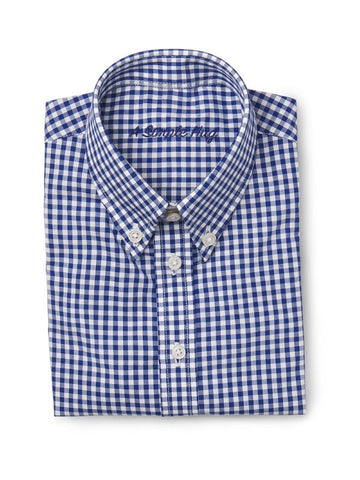 Dark Blue Poplin Checks Boy's Shirt. FROM 55€ NOW: