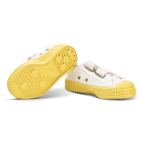 White and Yellow Star Master Velcro Kid Trainers