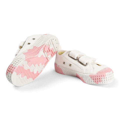 White and Pink Splodge Star Master Velcro Kid Trainers