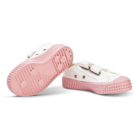 White and Pink Star Master Velcro Kid Trainers