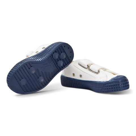 White and Navy Star Master Velcro Kid Trainers