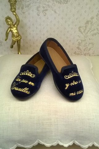 Luxury Unisex Velvet Slippers - Navy. From 45€ NOW ONLY: