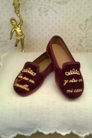 Luxury Unisex Velvet Slippers - Bordeaux. From 45€ now: