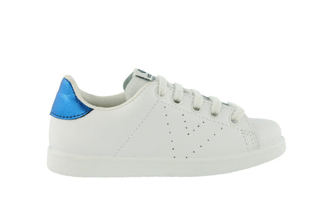 White Leather Trainers - Metallic Blue. SOLD OUT