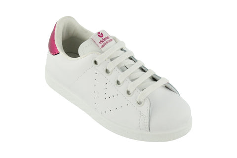 White Leather Trainers - Metallic Pink