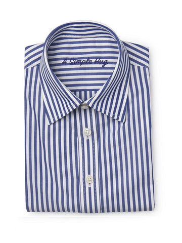 Dark Blue Poplin Stripes Boy's Shirt. FROM 55€ NOW: