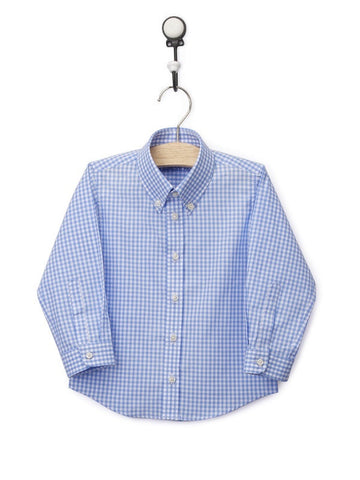 Light Blue Poplin Checks Boy's Shirt