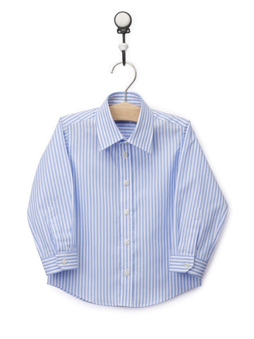 Light Blue Poplin Stripes Boy's Shirt