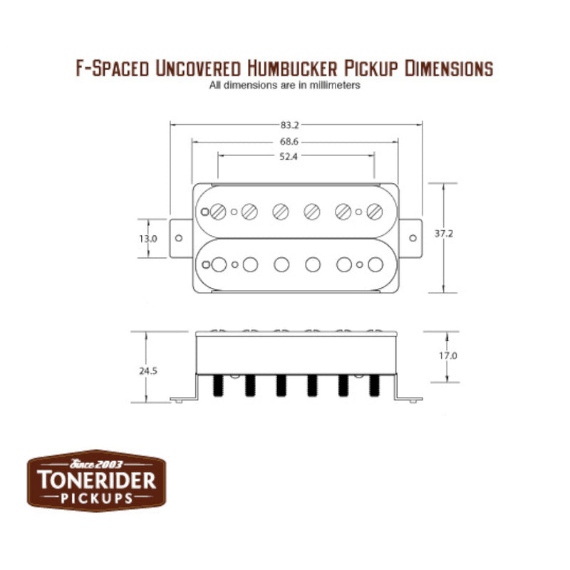 ToneRider Birmingham Humbucker Pickups Specs Metric F-Spaced