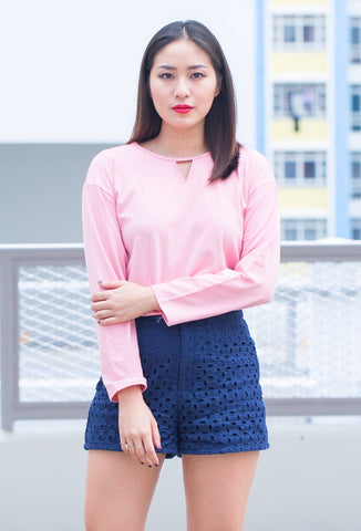 C8603 - Kim Pink Long-Sleeve Top