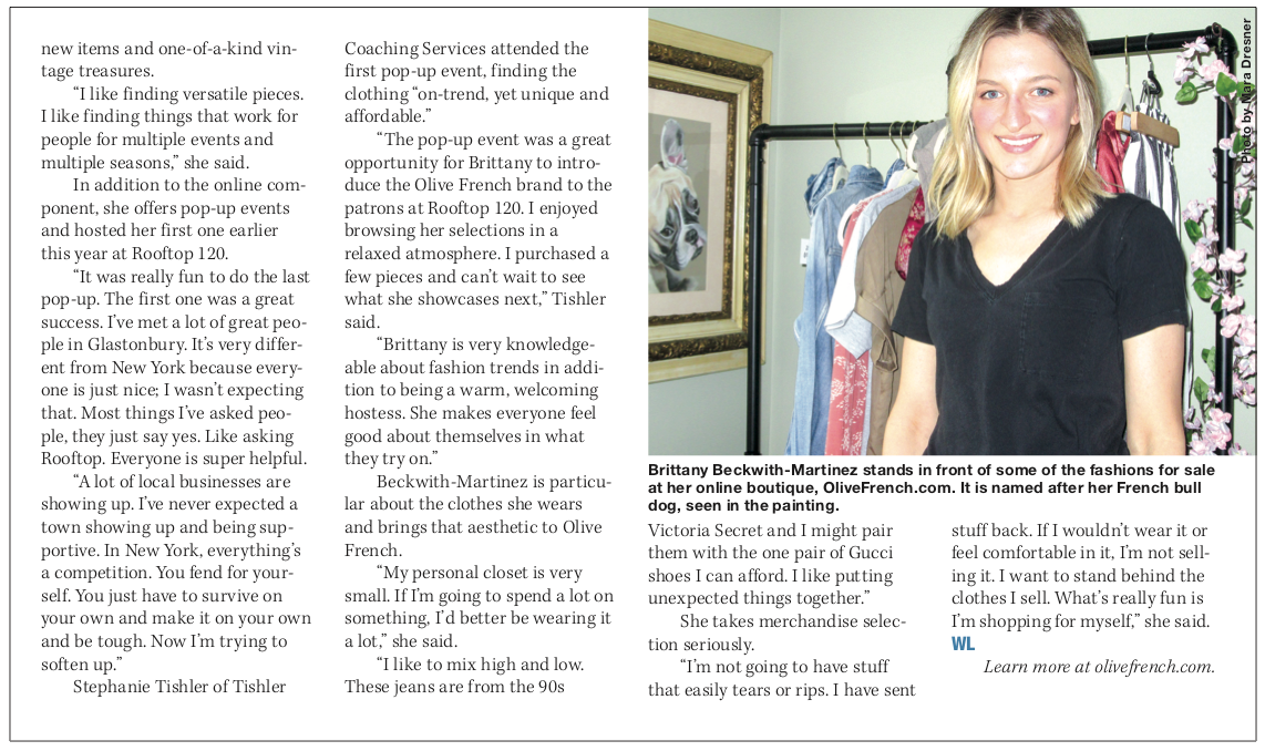 Glastonbury CT New online boutique featured in Glastonbury LIFE publications