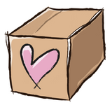Shipping box with a heart on it