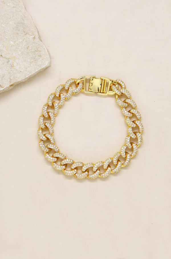Embellished Pave Chain Bracelet in Gold
