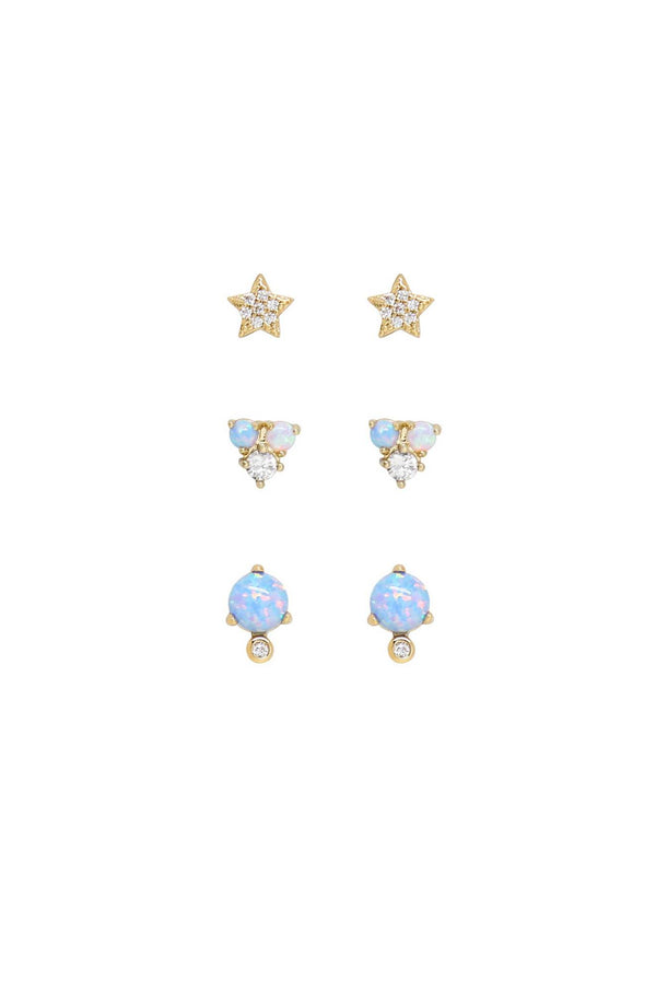 Blue Opal and Crystal Celestial Earring Set