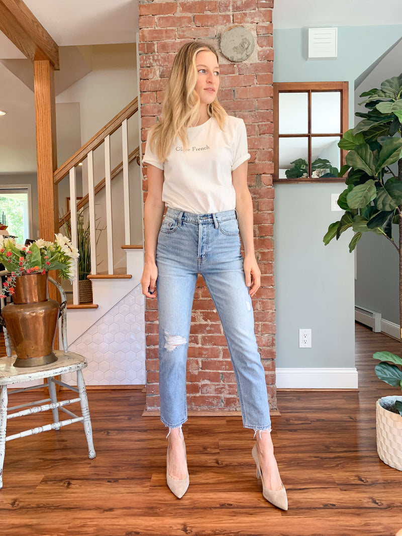 """Supermodel Mom Jean"" by Hidden Jean // Ultra High Rise Light Wash (Last In Stock)"