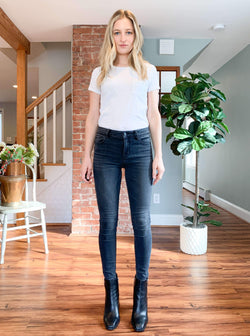 """Fallon"" Mid Rise Lived In Black Wash Skinny Jean by Hidden Jean"