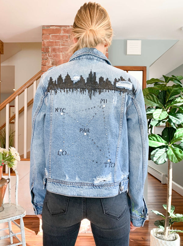 "Haylez x Olive French One Of A Kind Customized Jean Jacket : ""City Life"""