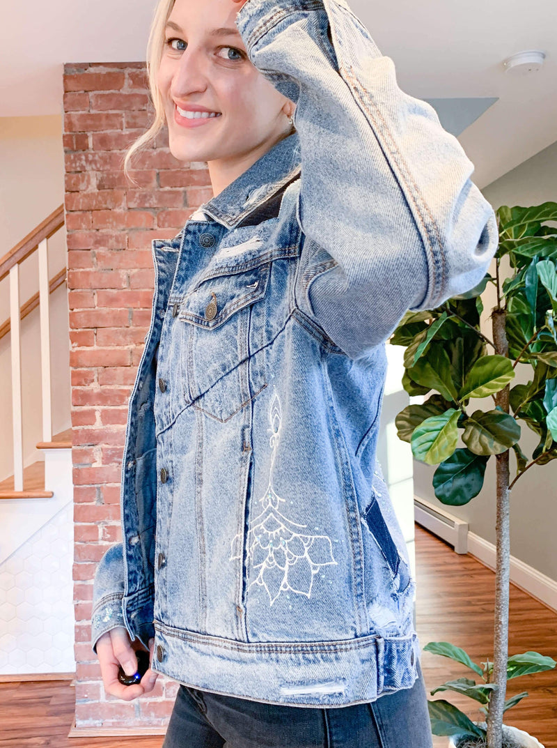 "Haylez x Olive French One Of A Kind Customized Jean Jacket : ""Wanderlust"""