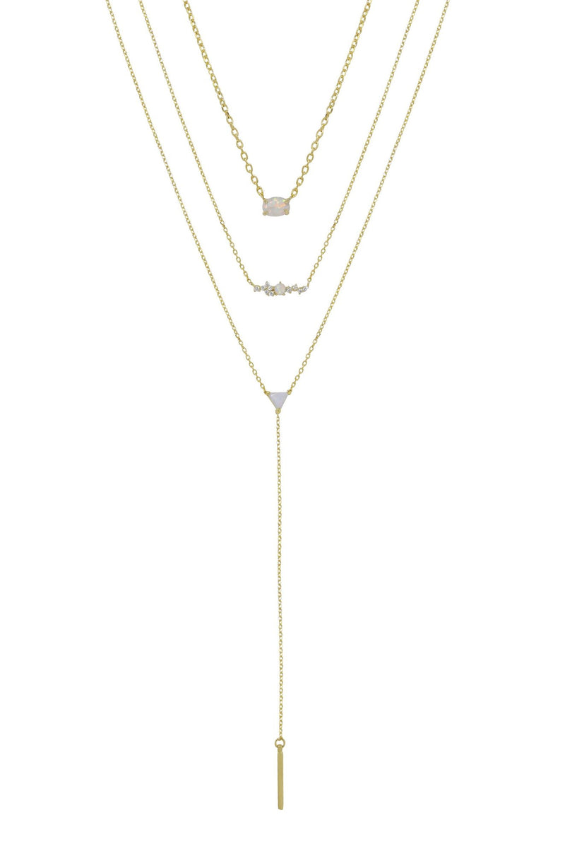 Layered Opal & Gold Lariat Necklace Set of 3