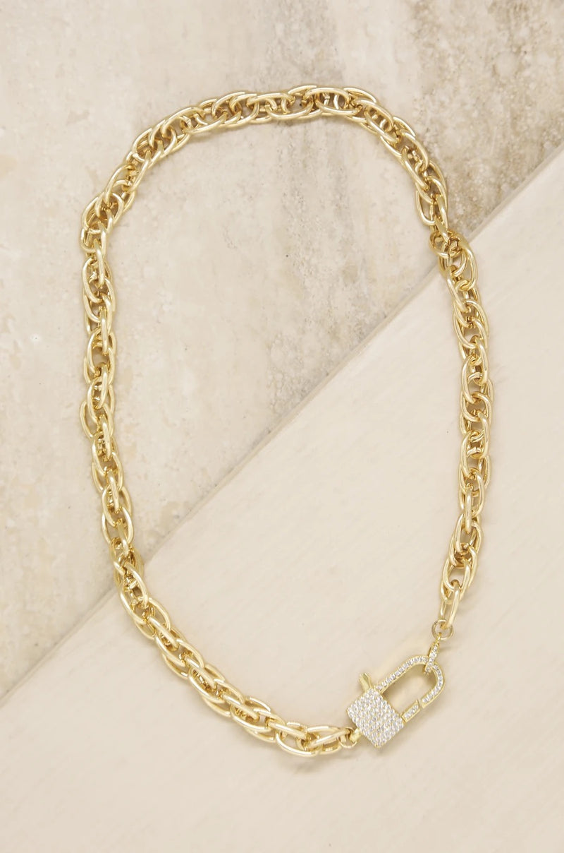 """Throw Away the Key"" 18k Gold Plated Chain Necklace"