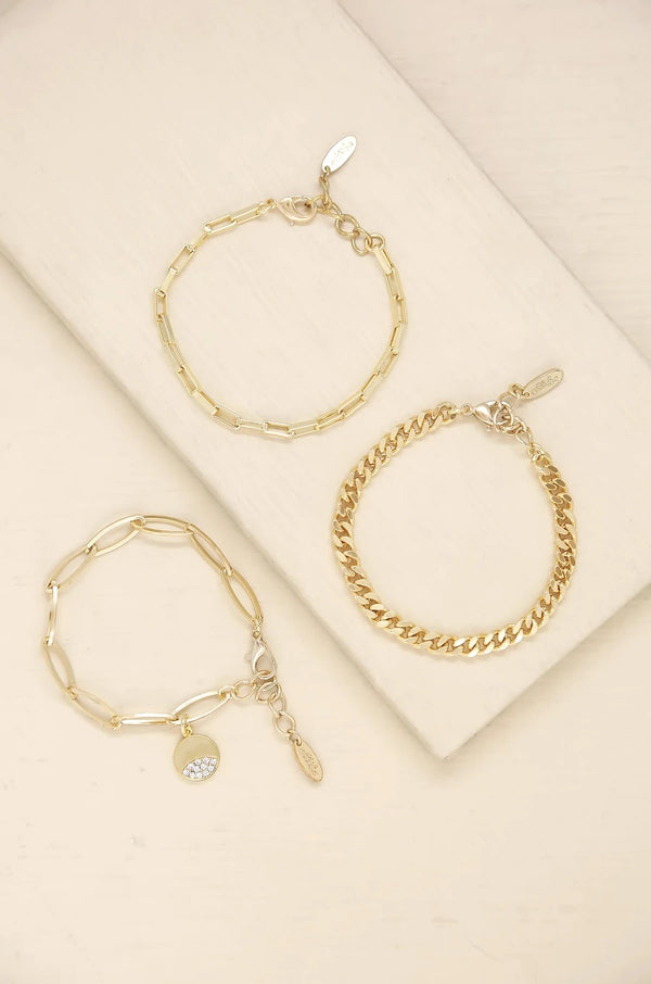 The Power of Three Bracelet Set in Gold