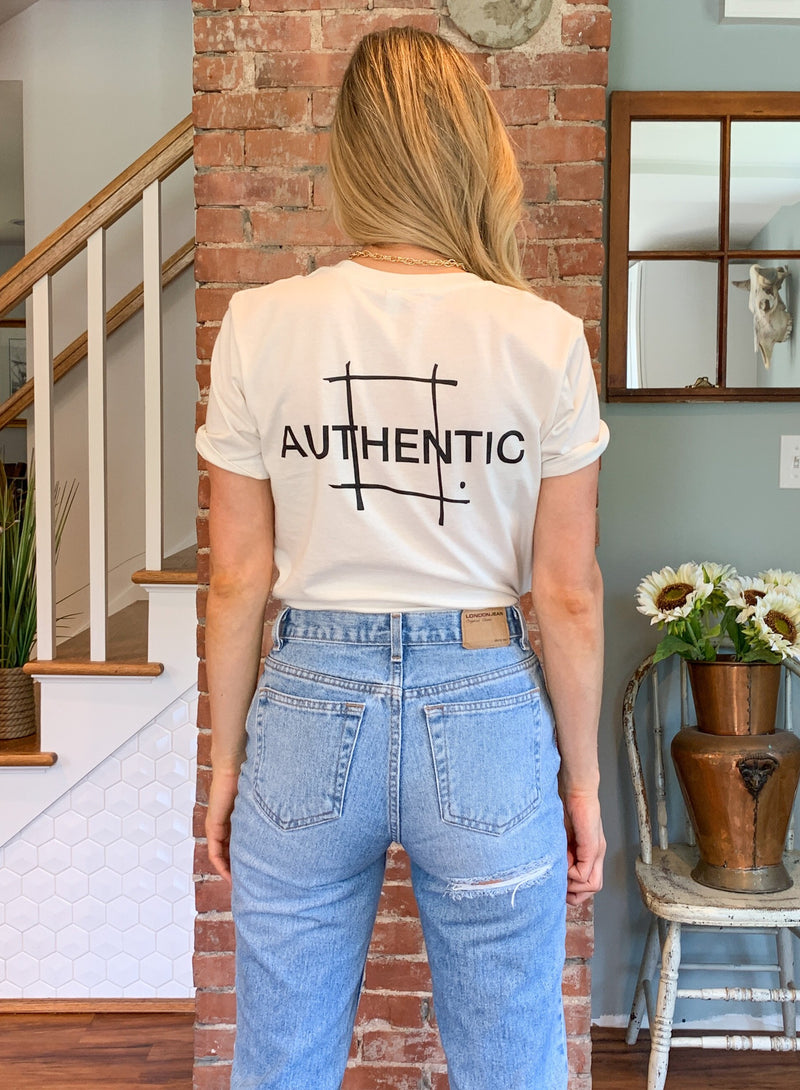"Olive French Original Design ""Authentic"" Graphic Tee"