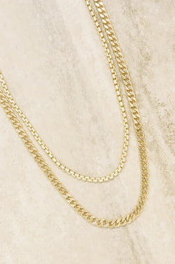 """Double Mixed"" 18k Gold Plated Chain Necklace Set"