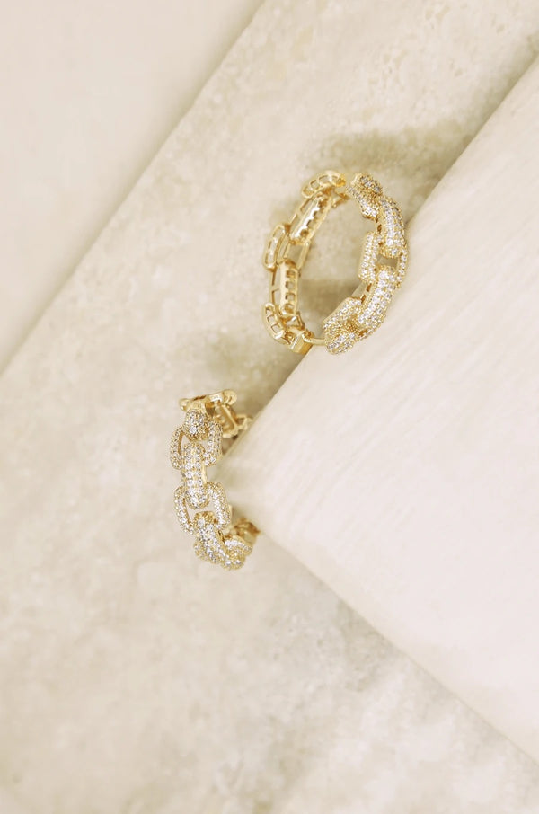 Crystal Chain Link Hoops in Gold
