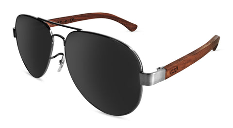 Premium Walnut Wood Temple - Metal Frame Aviator *Polarized*