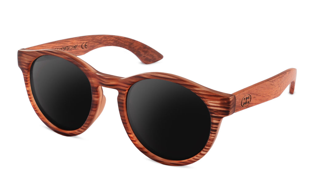 Premium Bubinga Wood Temple - Brown Striped - Round *Polarized*