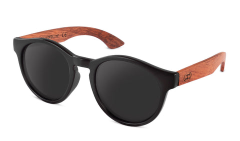 Premium Bubinga Wood Temple - Matte Black - Round *Polarized*