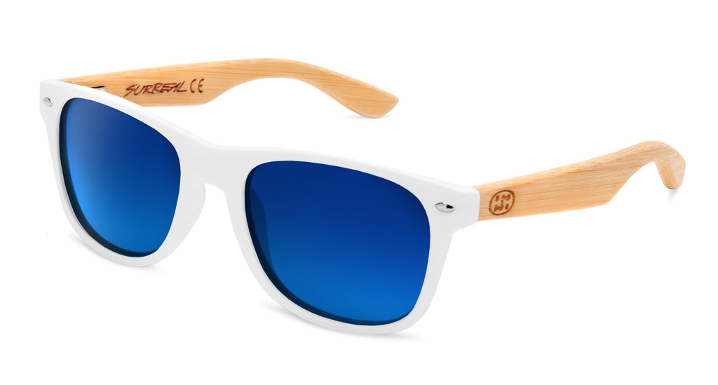Surreal® Sunglasses - Half Bamboo Polarized White