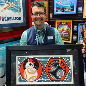 Behind the Scenes: Art-nouveau style Star Wars art featuring BB-8
