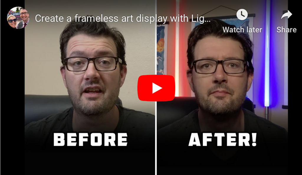 Create a frameless art display with Lightsabers!