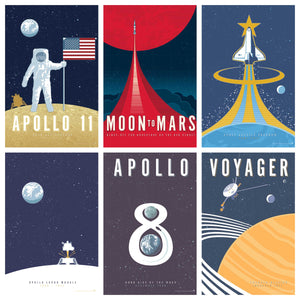 vintage style Space Exploration art prints is inspired by NASA and America's space program.