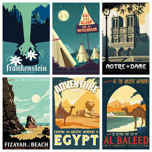 vintage style Travel Poster art prints is inspired by incredible destinations from America and around the world