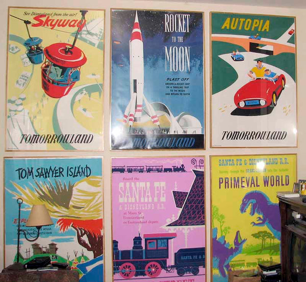 A collection of Disney Parks attraction posters from Disneyland